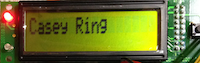 Casey's name on LCD