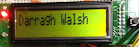 Darragh's name on LCD