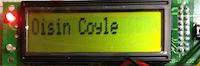 Oisin's name on LCD